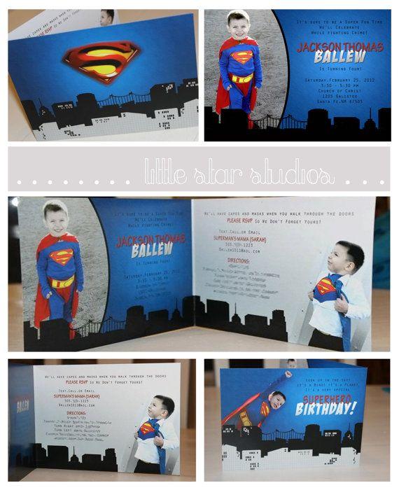 Superman Photo Birthday Invitation by LittleStarStudios on Etsy, $2.50