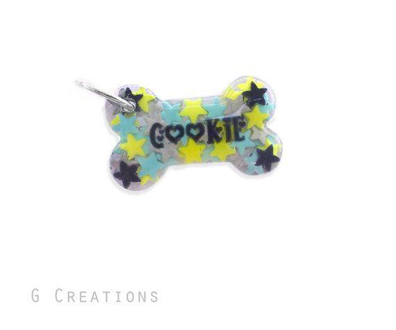 Stars Bone Dog Tag in Custom Colors  by GabriellesCreations