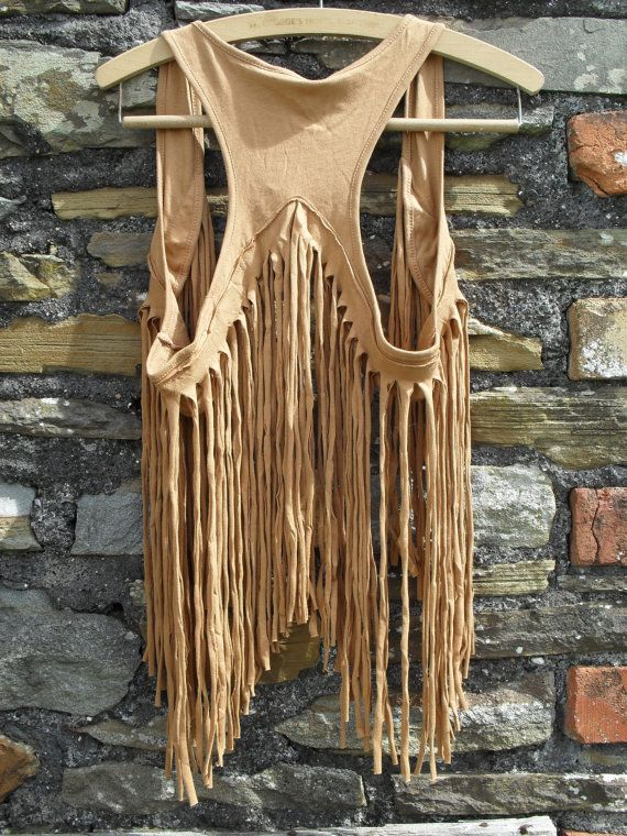 You can easily make this from a t-shirt. The fringe is the bottom portion that has been cut in strips, (from side to side so it will stretch), and then sewn onto the top part. Fun and easy.
