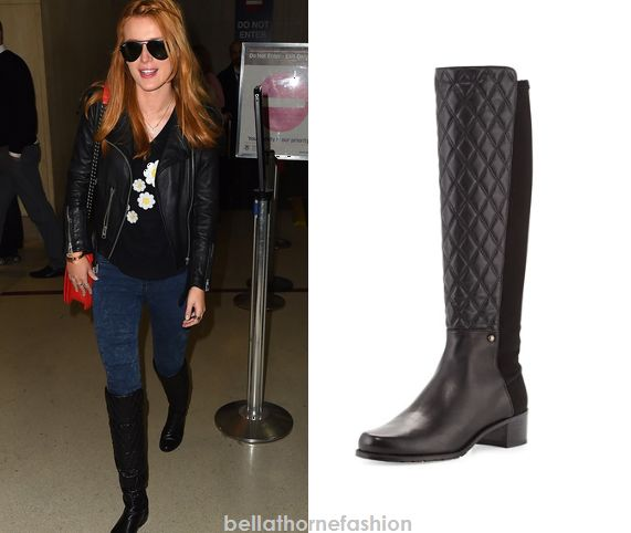 Bella Thorne wears these Stuart Weitzman Guard Quilted Leather Knee Boot in Black at ABC Studios in New York on December 3rd 2014.