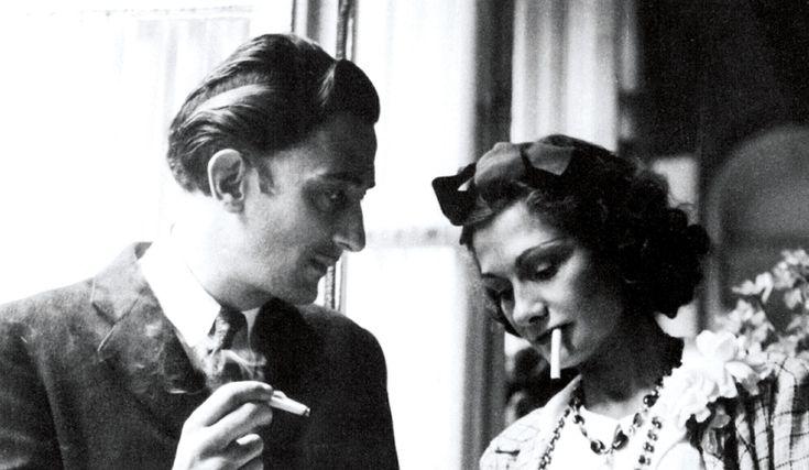 Salvador Dali & Coco Chanel sharing a cigarette circa 1938//