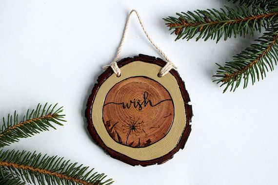 Wish | Rustic Wood Burned Wood Slice Christmas Ornament or Wall Hanging | Dandelion Wood Burning with Hand Lettering