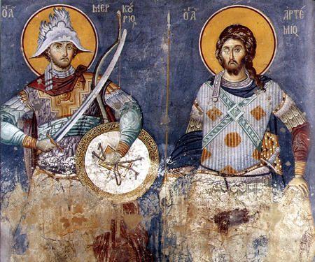 Εμμανουήλ  Πανσέληνος,14ος αιώνας.Άγιοι Μερκούριος και Αρτέμιος