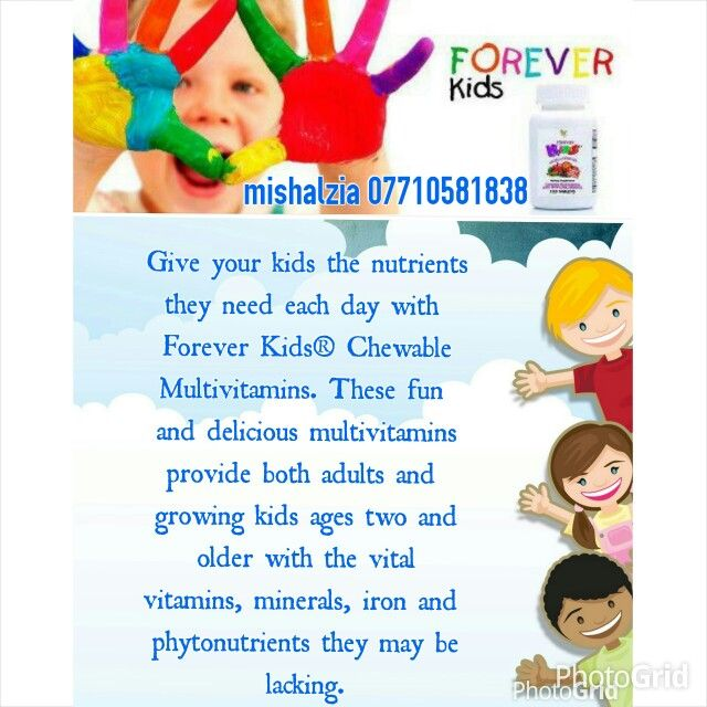 Give your kids the nutrients they need each day with Forever Kids® Chewable Multivitamins. These fun and delicious multivitamins provide both adults and growing kids ages two and older with the vital vitamins, minerals, iron and phytonutrients they may be lacking.