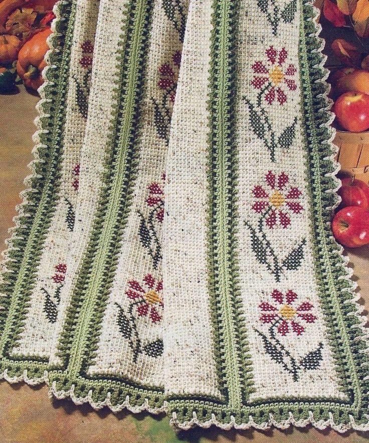 tunisian crochet garden afghan