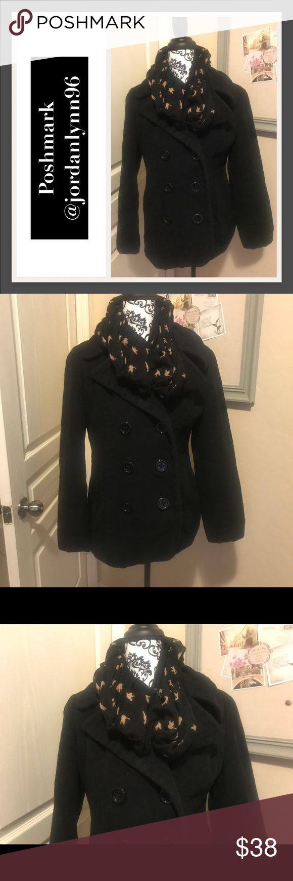 STYLE & CO Black Pea Coat Style &Co Black Pea Coat. Very comfortable and cozy. This jacket is very thick and will certainly keep you warm. Very good used condition. No major flaws. 80% Wool, 20% Nylon, Lining is 100% Polyester. Size S (comfortably fits up to size 8). 🍁Pair it with this lovely scarf available in the add on section and receive a bundle discount!🍂 Style & Co Jackets & Coats Pea Coats