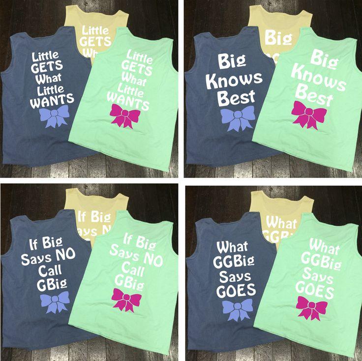 Big/Little/GBig/GGBig Family Saying Sorority Bow Comfort Colors Tank Top