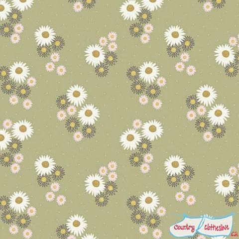 Flo's Wildflowers Daisies on Sage fabric by Lewis & Irene