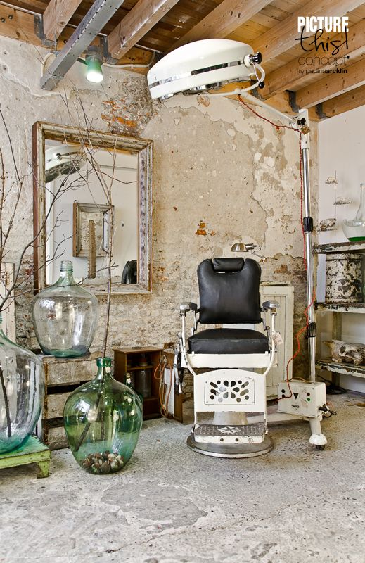 repurposed old barber chair paulina arcklin spa and. Black Bedroom Furniture Sets. Home Design Ideas