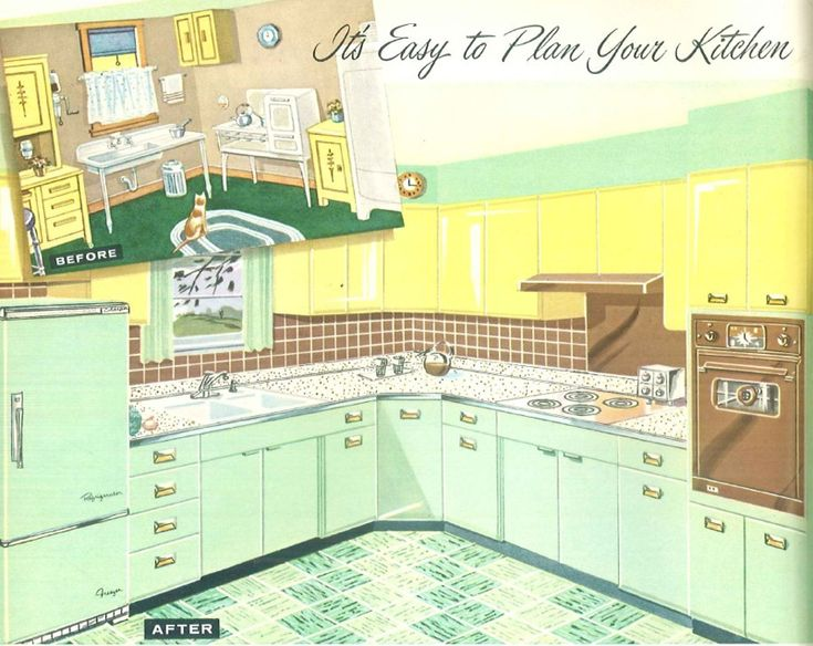 A vintage kitchen with two colors of steel cabinets. Green lower steel cabinets with yellow upper steel cabinets. With a cute green and white checked tile flooring.