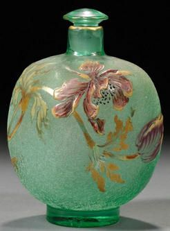 Green cameo glass flower and leaf  decorated perfume bottle by Galle, France