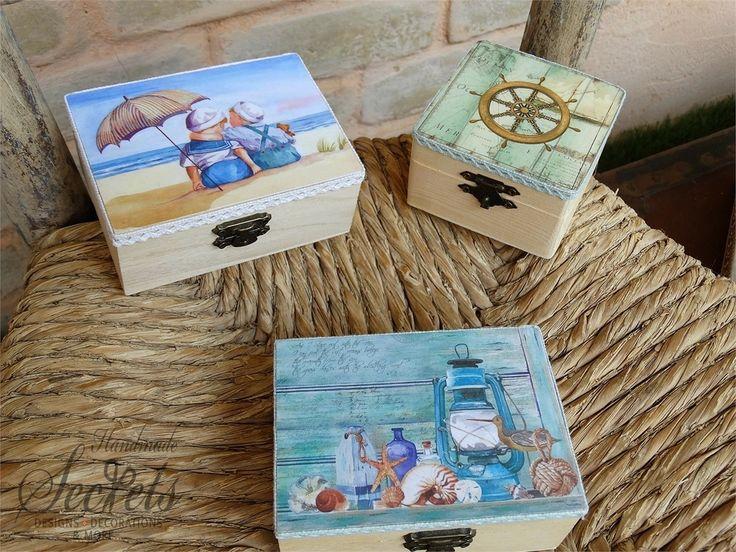Μπομπονιέρες βάπτισης ξύλινο κουτάκι vintage