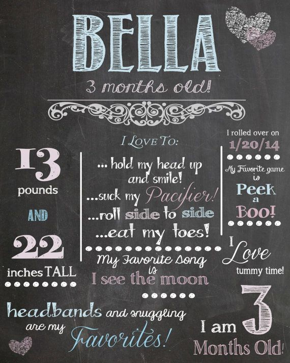 Monthly Milestones - 3 Months Old - Customized Chalkboard Poster Photo Prop - Vintage Pink and Blue - Digital File