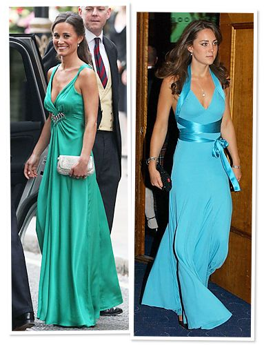 Kate and Pippa Middleton: Style Twins  Evening Go-To: Plunging Neckline in Floor-Length Silk