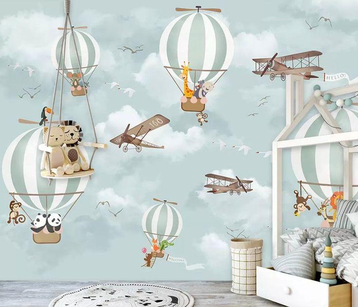 Kinder Heißluftballon Wallpaper mit Cartoon Tiere Flugzeug