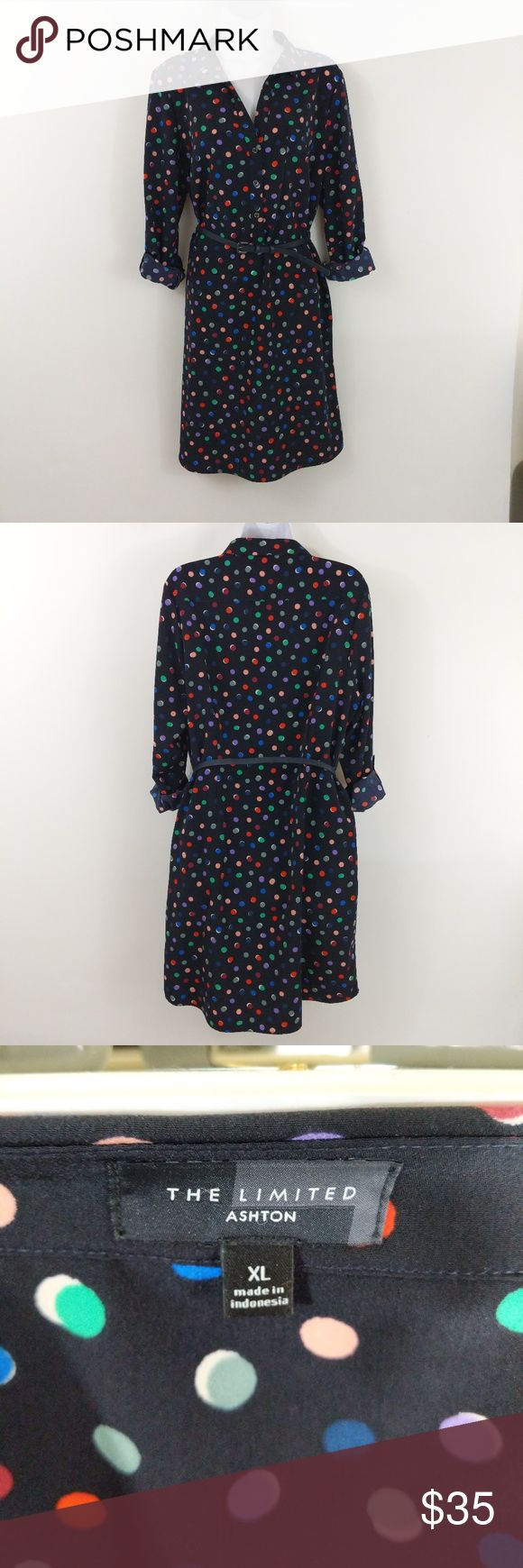 The Limited Shirtdress Ashton Navy W/Polkadots Check out the Limited's Ashton shirtdress, only worn once. Navy with multi colored polkadot pattern. Can be worn with or without a belt. Great for work.  Size information: Size XL  Condition Notes: Excellent used condition (like new).  We will consider all reasonable offers. Thanks for shopping with us! The Limited Dresses