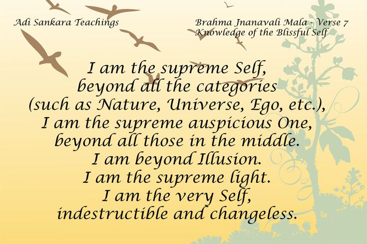 Brahma Jnanavali Quote 7 Brahma Jnanavali Mala - Verse 7 Knowledge of the Blissful Self I am the supreme Self, beyond all the categories (such as Nature,