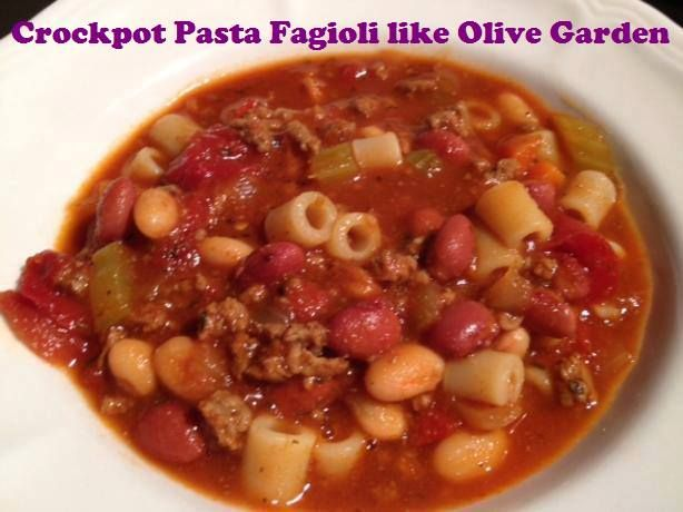 Crockpot Pasta Fagioli like Olive Garden- 2 lbs gr beef*1 onion*3carrots*4 stalks celery *2 (28 oz) cans diced tomatoes undrained*1 (16 oz) can red kidney beans drained*1 (16 oz) can white kidney beans, drained*3 (10 oz) cans beef stock*3 tsp oregano*2 tsp pepper*5 tsp parsley*1 tsp Tabasco sauce (optional)*1 (20 oz) jar spaghetti sauce*8 oz pasta*Chop vegs. Brown beef,drain,add to crock pot w/everything except pasta. Cook  low 7-8 hrs or high 4-5 hrs. Add pasta last 30 min