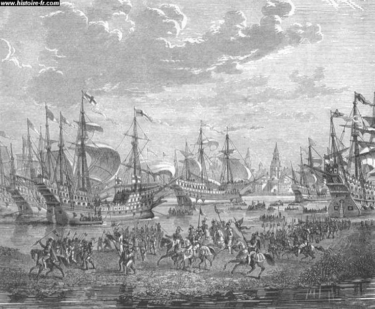 La neuvième guerre d'Italie (1542 à 1546): Henri VIII débarquant à Calais, par Paul Lehugeur, 19°s.- Les 2 souverains finissent par consentir à une paix définitive en 1544, le traité de Crépy-en-Laonnois reprend l'essentiel de la trêve signée en 1538. La France perd sa suzeraineté sur la Frandre et l'Artois et renonce à ses prétentions sur le Milanais et sur Naples, mais conserve temporairement la Savoie et le Piemont.