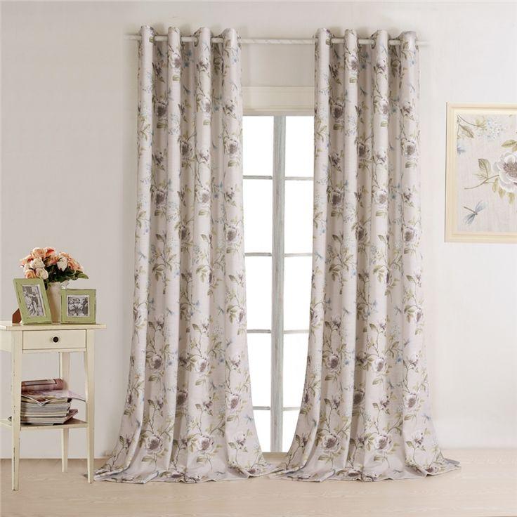 遮光カーテン 北欧カーテン フラワープリント ポリエステル 3級遮光カーテン(1枚)