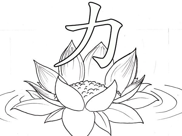 Kanji strength lotus unbreakable tattoo
