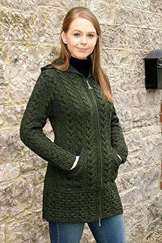 db99c493e79 100-Irish-Merino-Wool-Ladies-Hooded-Aran-Zip-Sweater-Coat -Army-Green-Extra-Large