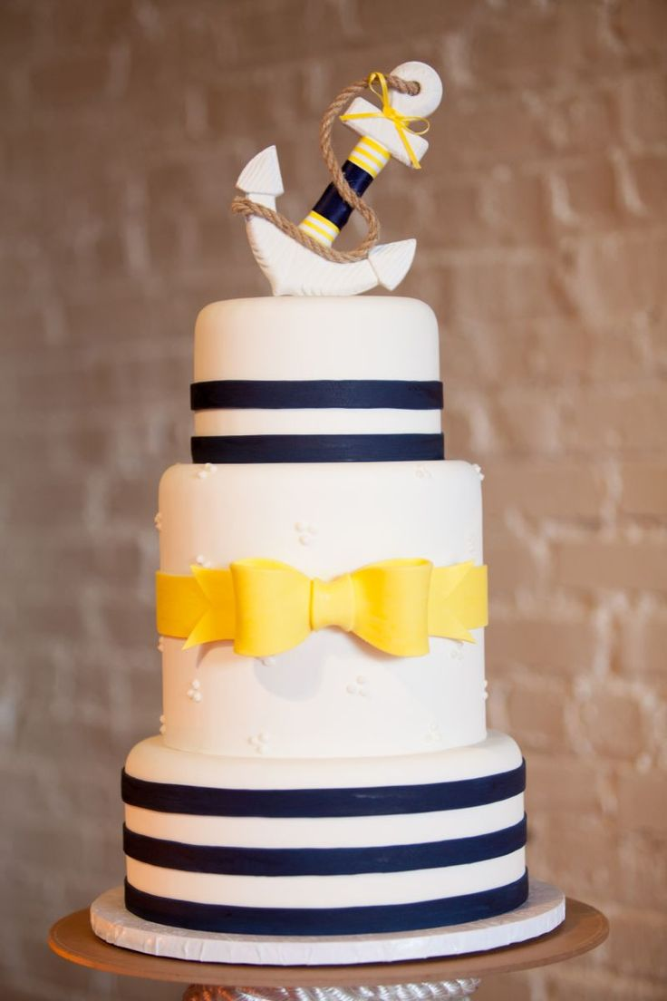 Take away the nautical theme and add colour scheme. I love the bow on the thicker tier in the middle