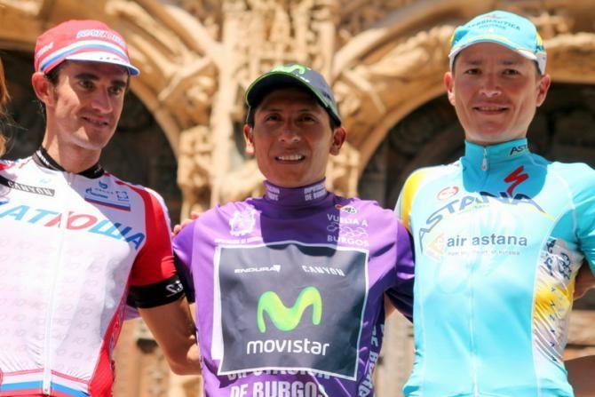 Final podium at the Vuelta a Burgos: Nairo Quintana, Dani Moreno and Janez Brajkovic