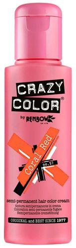 Coloration CRAZY COLOR - Coral Red - #Teinture Orange Roux #Cheveux Semi Permanente Pour une #Coiffure #Rock #Punk #Gothique #Emo rockagogo.com