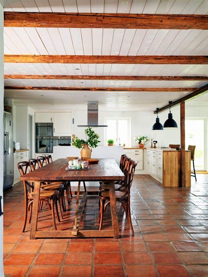 love the tiled floors - Terra Cotta Tile Dining Room Decorating