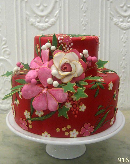 Beautiful Red cake by Betty Bakery in Brooklyn