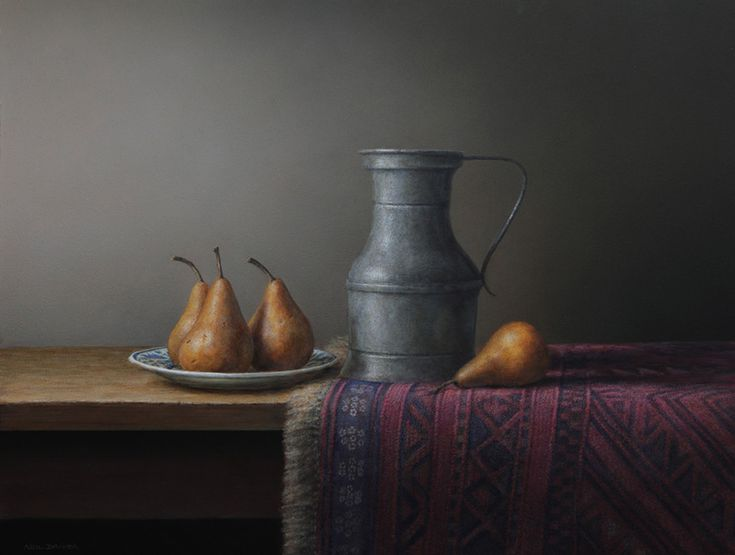 Parnell Gallery artist Neil Driver Pears and Pewter http://www.parnellgallery.co.nz/artworks/artist-neil-driver/pears-and-pewter/