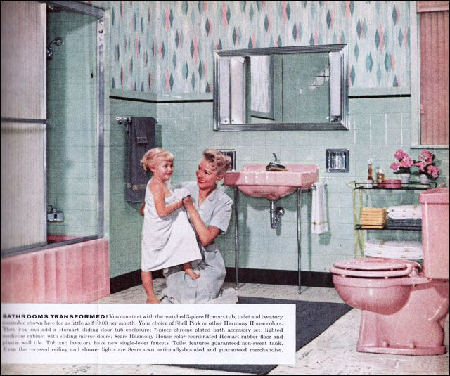 This is a standard pink and green color scheme offered by Sears Roebuck. Until the mid 1950s, ads by Sears are a rarity, but by 1957 they appear regularly in Better Homes & Gardens. This ad was very midcentury and very middle class.