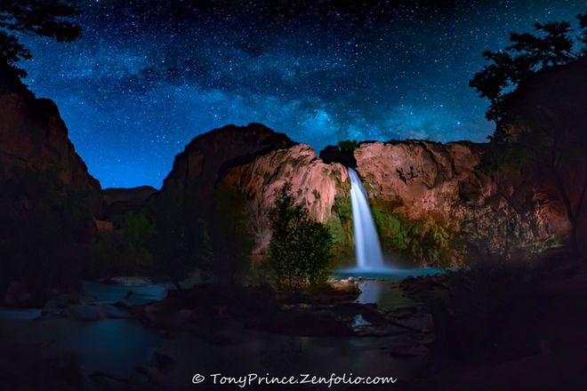 Astrophotographer Tony Prince took this image of the Milky Way on March 10, 2016 from Havasu Falls, Arizona. Credit: Tony Prince