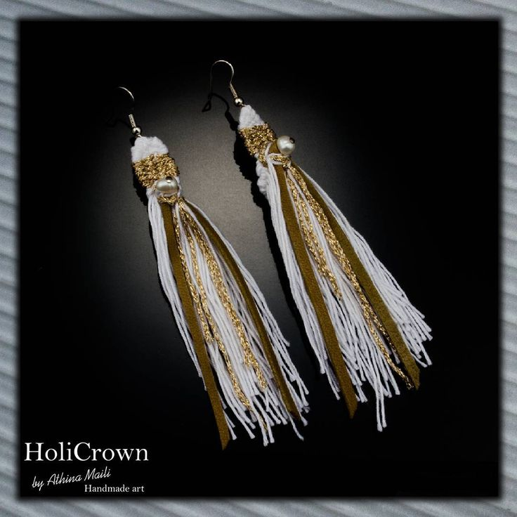 Handwoven earrings. Leather, gold yarns and real pears.