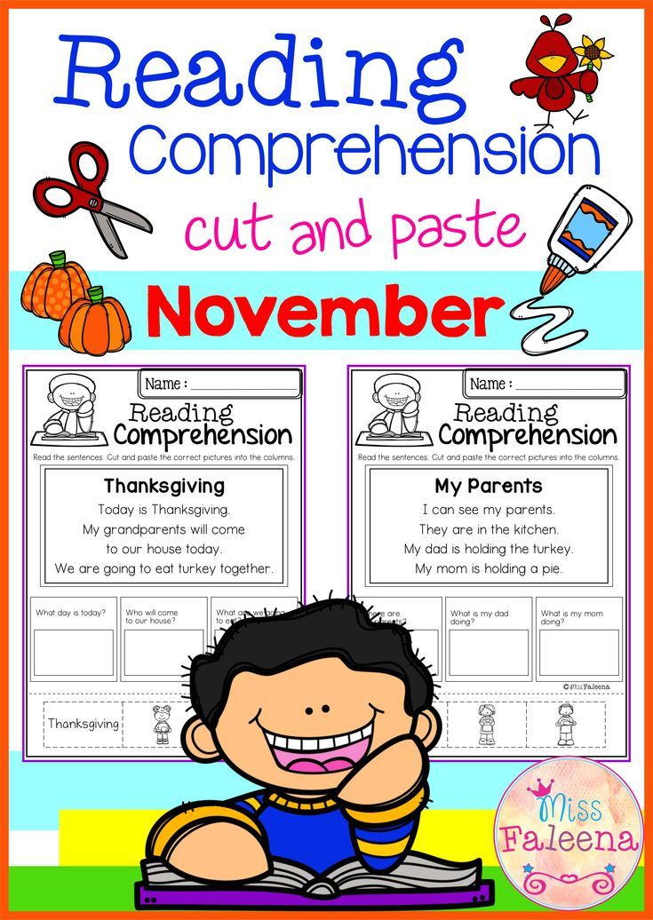 November Reading Comprehension Cut And Paste Pracovni Listy