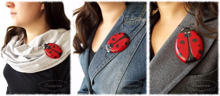 Wooden painted ladybug brooch