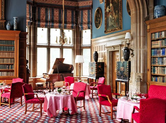 The grand Frankfurt-area Schlosshotel Kronberg-set in an 1890s castle that was once home to Queen Victoria's eldest daughter, Empress Frederick of Germany-is sporting a fresh look. London designer Nina Campbell has redone the 62-room property, which opened in 1954, with stately furnishings in jewel tones.