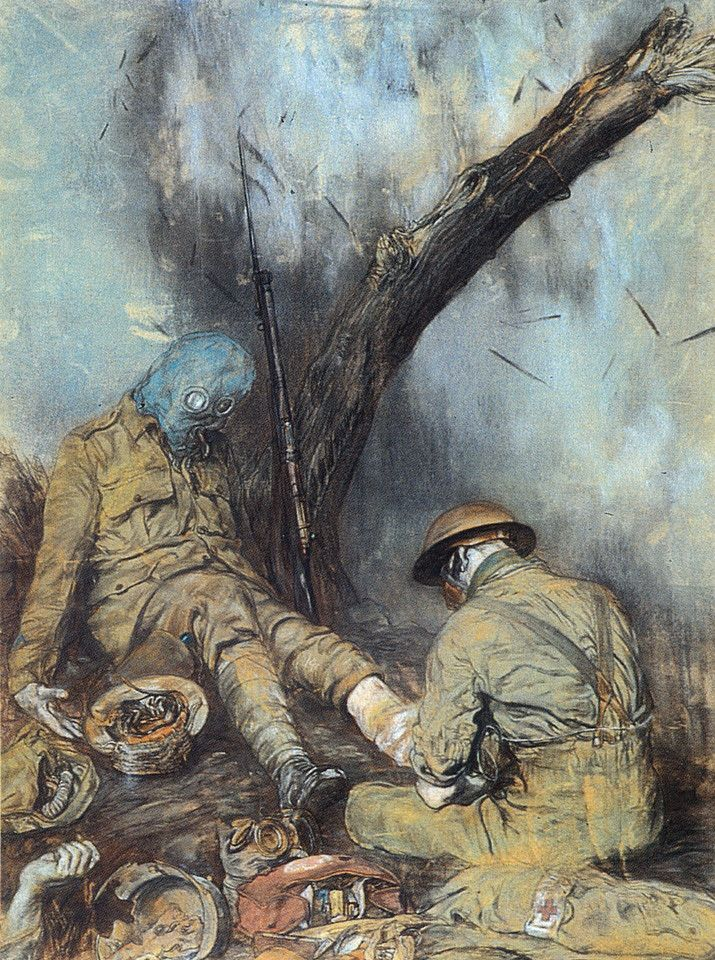 WWI 'Dressing the Wounded During a Gas Attack' by Austin Osman Spare (English�