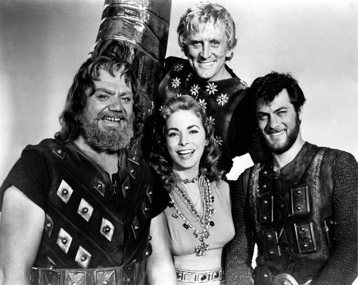"Ernest Borgnine, Janet Leigh, Tony Curtis and Kirk Douglas on the set of ""The Vikings"" in 1958."
