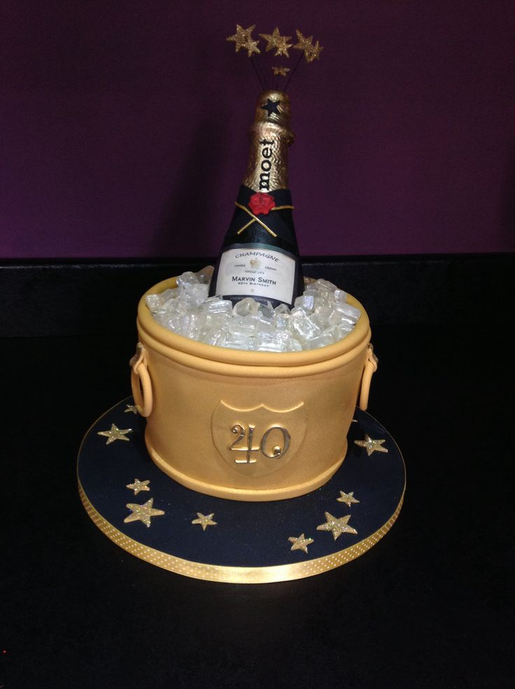 Images Of Birthday Cake And Champagne : Champagne bucket cake, 40th birthday cake Entertaining ...