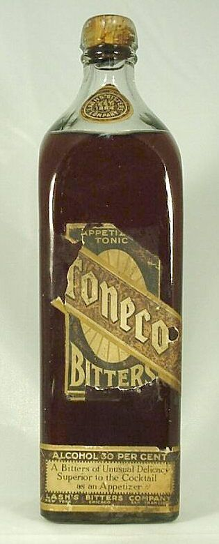 "Toneco Bitters with label and contents.   This bottle is about 10"" tall, machine-made, and is of a shape usually associated with Irish whiskey; i.e., it is very similar to the past - and current - Bushmill's Irish Whiskey bottles.  This item likely dates from the late 1910s or early 1920s and was a form of alcohol (30% according the lower label) that may have been available even during National Prohibition due to its medicinal claims."