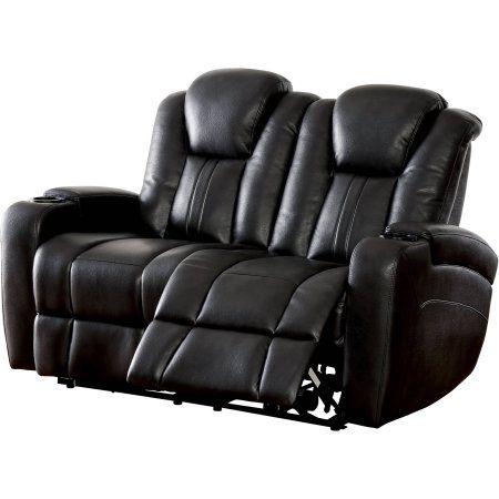 Furniture of America Shafer Contemporary Loveseat Recliner, Dark Gray