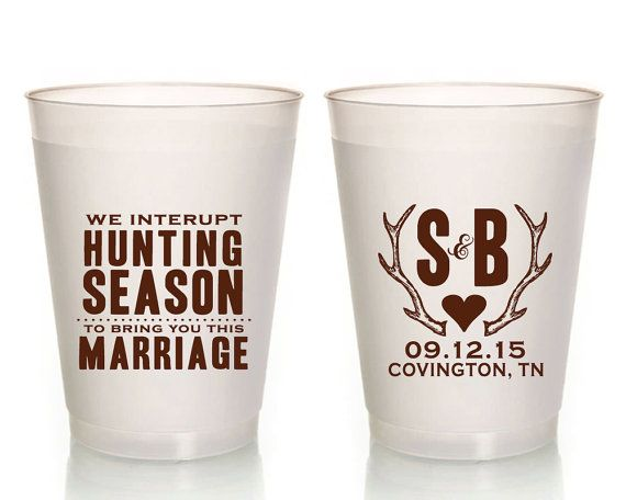 Hunter Wedding Cups Rustic Wedding Cups Gifts and Mementos Antler Wedding Cups Wedding Favors Bridal Shower Gift Antler Wedding 1303 by SipHipHooray
