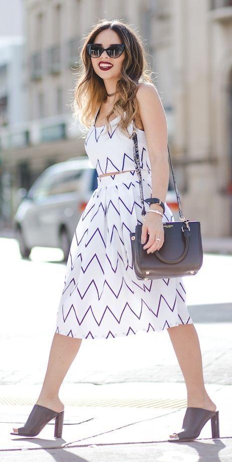 White Chevron Dress Styling by Nany's Klozet
