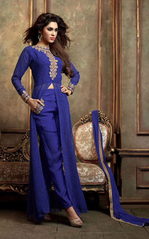 Blue Georgette Kameez With Pant 61025