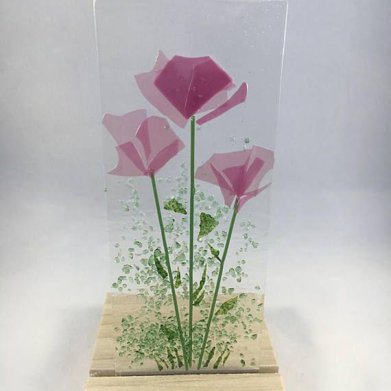 Floral Glass Plaque Candle Display Pink Flowers Fused