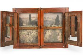 Panorama Window of C.F.G Creazioni Artigiane Old recycled window, consolidated and cleaned in all its parts, with original color and glass. The background is given by a canvas attached to the back, while inside the doors there is a mirror.