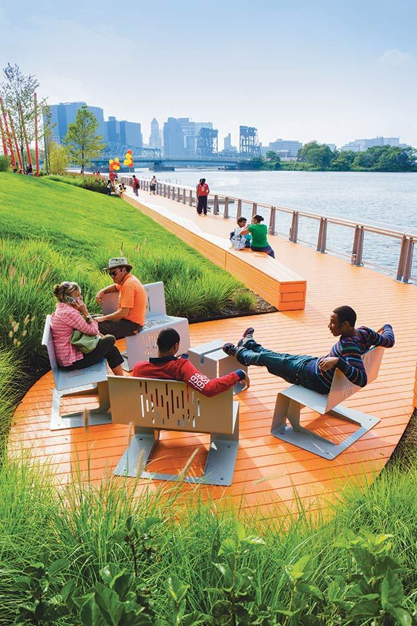 Riverside folded metal seating and breakout