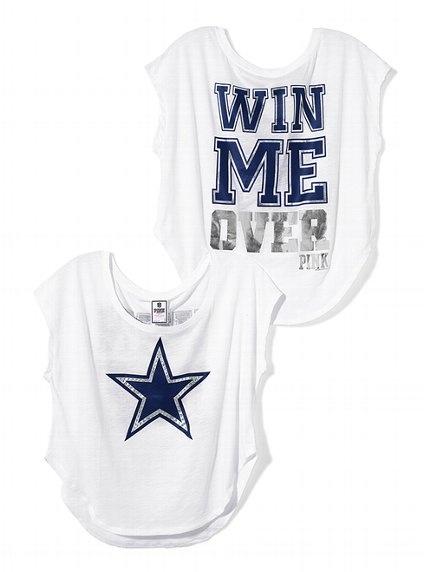 Dallas Cowboys Drapey Dropped Hem Tee - Victoria's Secret PINK® - Victoria's Secret. Ready for some football!!!